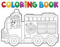 Coloring book fire truck theme 2 - picture illustration.