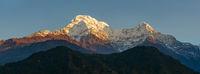Annapurnas at sunrise panoramic view, Nepal