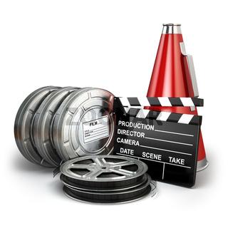 Video, movie, cinema vintage production concept. Reels, clapperboard and megaphone.