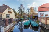 Barges on the banks of the Spree river in Lübbenau