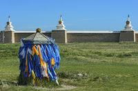 Khatas, traditional ceremonial silk scarfs, Erdene Zuu monastery, Mongolia