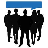 Business Team Gruppe mit Sprechblasen
