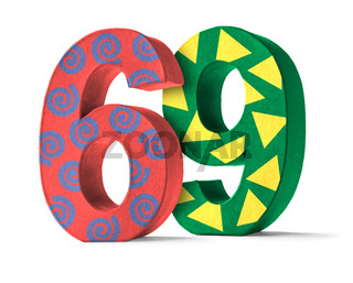 Colorful Paper Mache Number on a white background  - Number 69