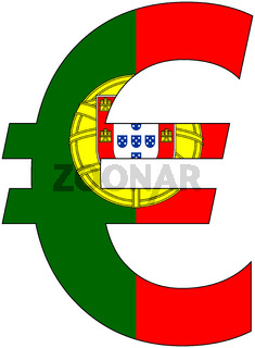 euro with flag of portugal