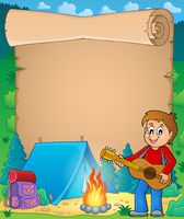 Parchment with boy guitarist in camp 1 - picture illustration.