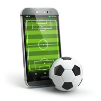 Mobile soccer. Football field on the smartphone screen and ball. Online ticket sales concept.