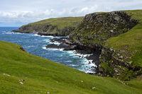 Rocky coastline with bays, Sutherland, Scotland, Great Britain