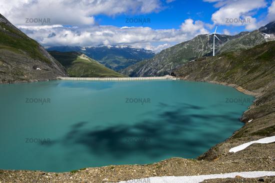 Water dam Griessee and wind turbine, Switzerland