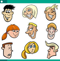 cartoon teenagers faces set