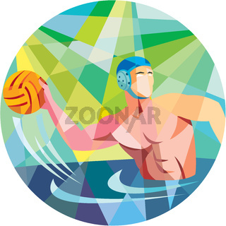 Water Polo Player Throw Ball Circle Low Polygon