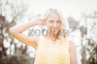 Cute woman smiling at camera