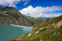 Water dam Griessee and wind turbine, Switzerland