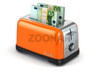 Toaster baking euro. Financial business concept.