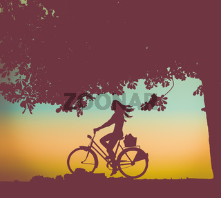 Retro Sunset Cyclist