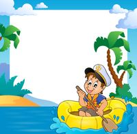 Frame with little sailor in boat - picture illustration.
