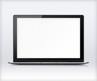 Laptop with blank white screen.