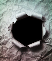 Crumpled Paper Background with Big Black Hole Punched Through