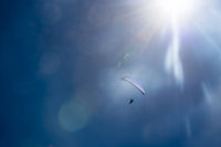 Paraglider with motor drive backlit by the sun, flares, sun rays.