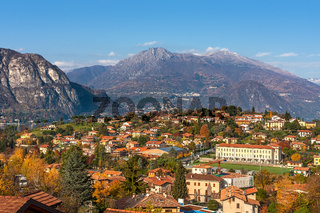 Small town and mountains in Italy.