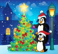 Penguins near Christmas tree theme 3 - picture illustration.