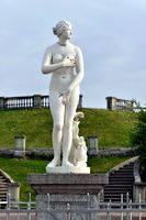 Marble Venus statue and fountain in Peterhof garden,