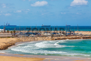 View on shoreline and marina in Israel.