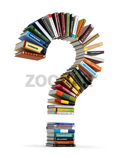 Question mark from books. Searching information or FAQ edication concept