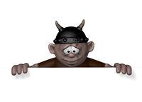 wikinger mit helm schaut nach unten auf ein leeres schild - 3d cartoon illustration