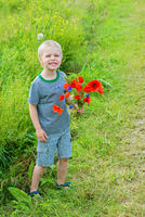 Cute boy in field with red poppies bouquet