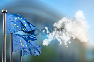 European union flags and map of Europe