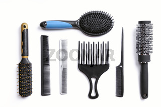 hairdresser brushes set isolated