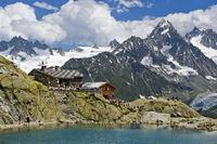 Mountain hut Refuge du Lac Blanc,Chamonix,France