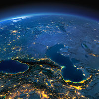 Detailed Earth. Caucasus and the Caspian Sea on a moonlit night