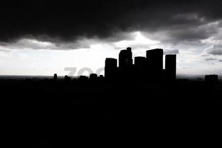 Dark silhouette city skyscrapers