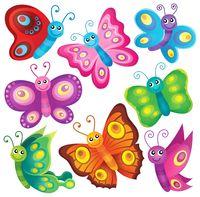 Happy butterflies theme set 1 - picture illustration.