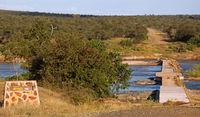 damaged bridge at Olifants near Balule in Kruger National Park, South Africa
