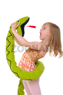 girl fights with toy snake