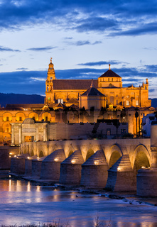 Puente Romano and Mezquita at Twilight in Cordoba