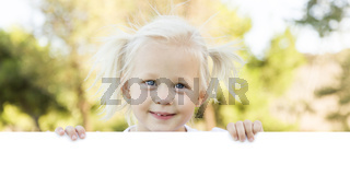 Cute Little Girl Holding White Board with Room For Text