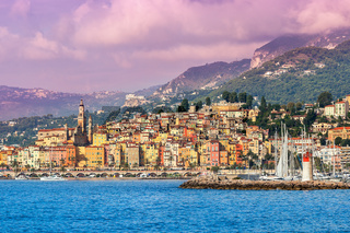 Town of Menton on French Riviera.