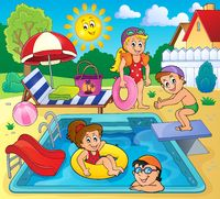 Children by pool theme image 2 - picture illustration.