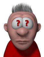 cartoonfigur mit fragezeichen in den augen - 3d illustration