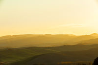 Sunrise in a landscape of tuscany