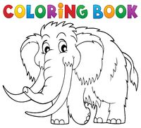 Coloring book mammoth theme 1 - picture illustration.