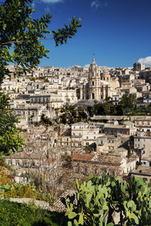 view of modica town in sicily italy
