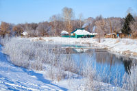 Freezing river Talitsa in winter