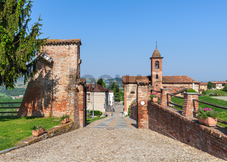 Brick walls and small church in Italy.