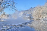Wintertime in Bergisches Land at River Wupper near Solingen,Germany