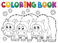 Coloring book with three muskoxen - picture illustration.