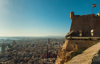 Castle of Santa Barbara and aerial view of  Alicante city. Costa Blanca. Spain
